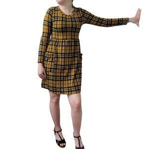 GILLI Long Sleeve Soft Plaid Checkered Knit Dress